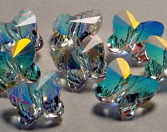 6pc - 5mm Swarovski Crystal AB Butterfly Faceted Beads Spacers Style 5754