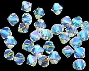 24pc - 4mm Swarovski Crystal Light Azore AB2X BiCone Spacer Beads Style 5301 aka 5328