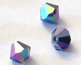 10pc - 6mm Swarovski Crystal Heliotrope BiCone Spacer Beads Style 5301 aka 5328