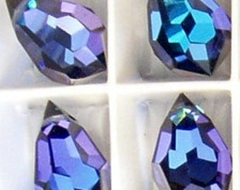 4pc - 10mm Preciosa Crystal Heliotrope Crystal Teardrop Pendants Drops Charms