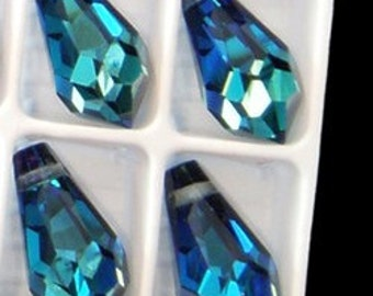 18mm Preciosa Crystal Bermuda Blue Crystal Teardrop Pendant Drop Charm