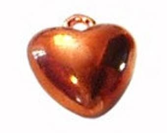 6pc - 17mm Vintage Copper Heart Pendants Charms Findings