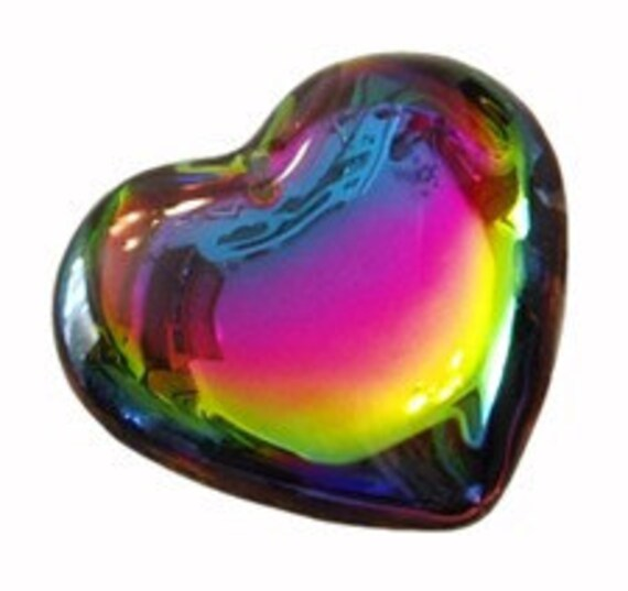 1 - 45mm Molded Glass Vitrail Medium Heart Pendant Prism