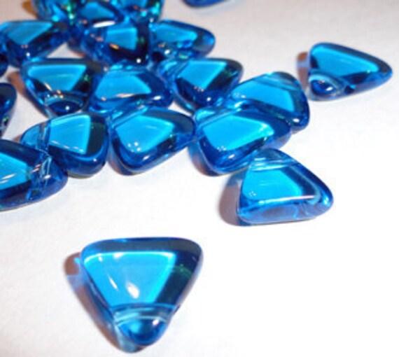 18pc - 12mm Vintage Aquamarine Blue Triangle Beads Spacers