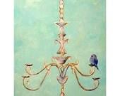 Cute Blue Bird on Chandelier | 2 sizes art print | Aqua blue romantic chic wall art print