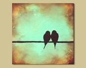 Original Rustic Love Birds Painting 12 x 12 Romantic Minimal Art