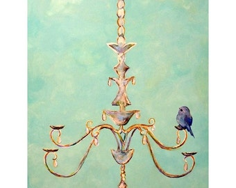 Cute Blue Bird on Chandelier | 2 sizes art print | Aqua blue romantic chic wall art print