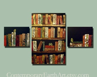 Contemporary Birds & Books Painting ( 56 x 36 ) Custom Large Smart Wall Art