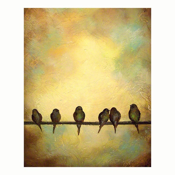 Archival Print of Birds on a Wire Original Painting