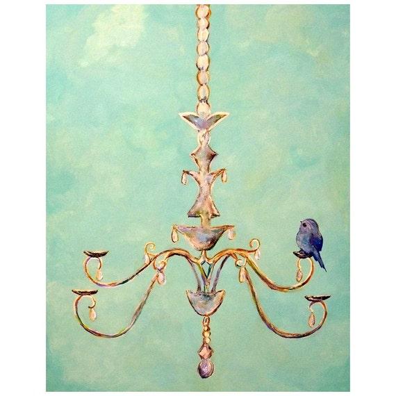 Cute Blue Bird on Chandelier   2 sizes art print   Aqua blue romantic chic wall art print