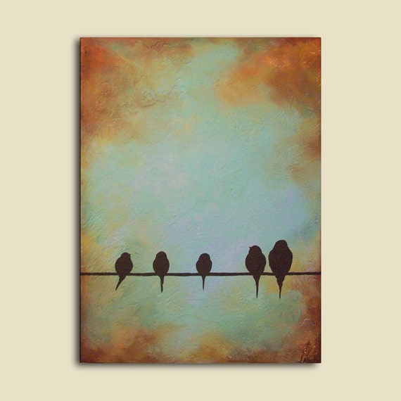 """Custom Portrait Painting of Family as Birds, 18"""" x 24"""", Birds on a wire"""