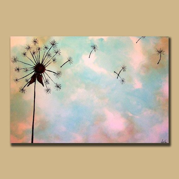 Items similar to Minimal Dandelion Custom Painting 24 x 36 ... - photo#2