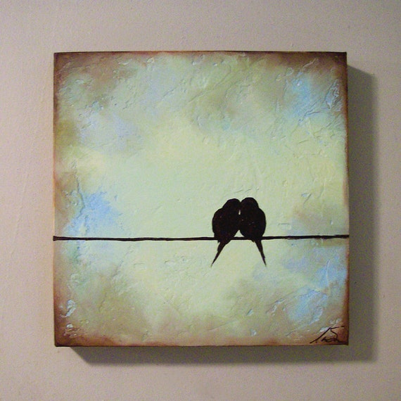 Painting Birds on a Wire Original 12 x 12