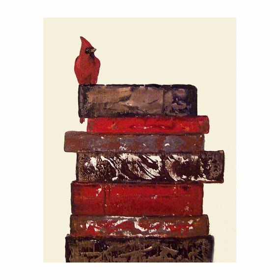 Cardinal Bird on Vintage Inspired Books Christmas Red Art Print