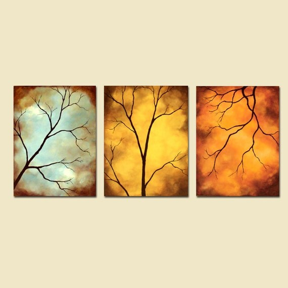 """Large Acrylic Modern Tree Branches """"54 x 24"""" Original Paintings"""