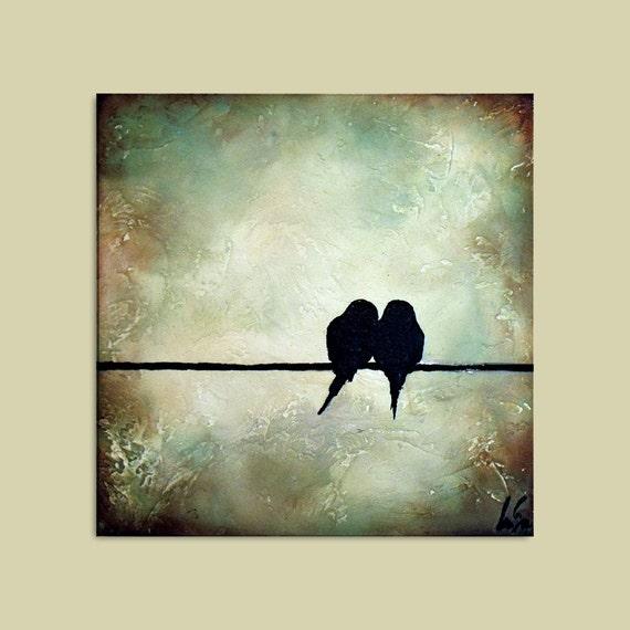 Romantic Birds on Wire Painting...12 x 12... Minimal Rustic