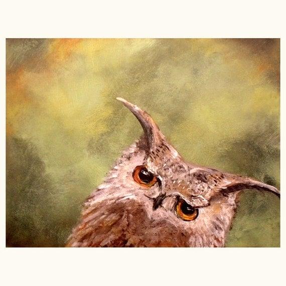 Curious Owl Art Print....8 x 10....Fun bird wall art