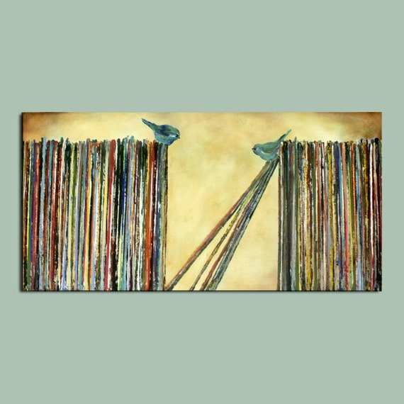 Song Birds on LP Records...Large Original Painting...15 x 30.....Unique Wall Art
