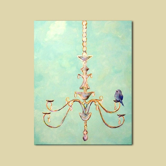 Chandelier and Bird Large Custom Painting