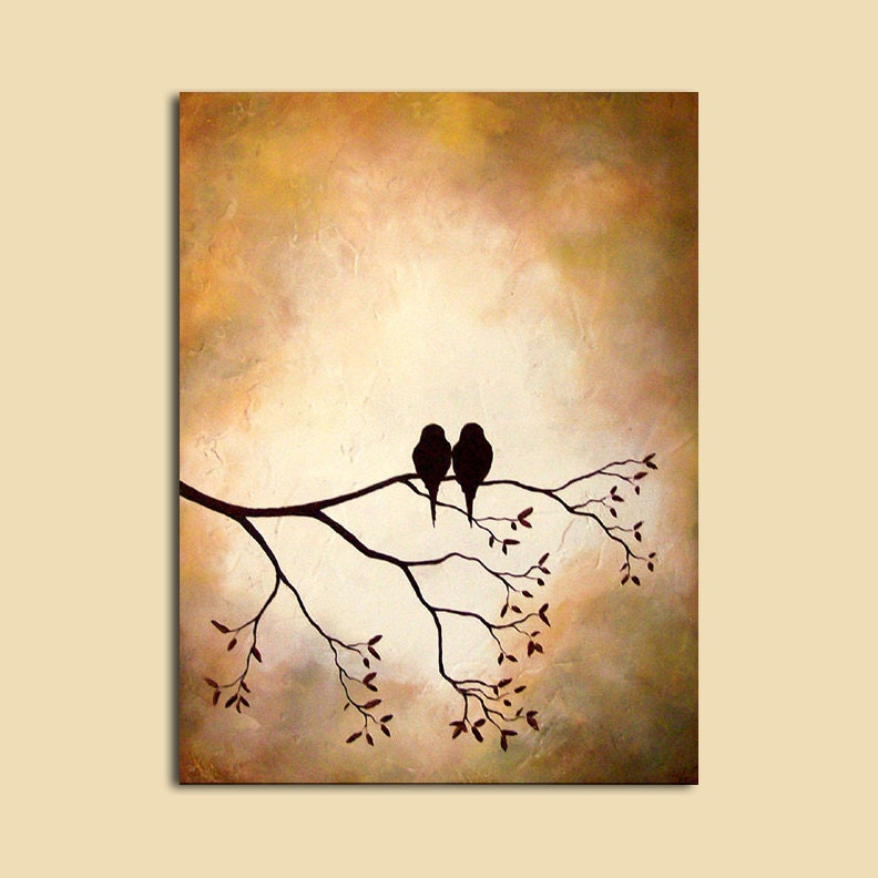 Bird on branch painting for Bird wall art