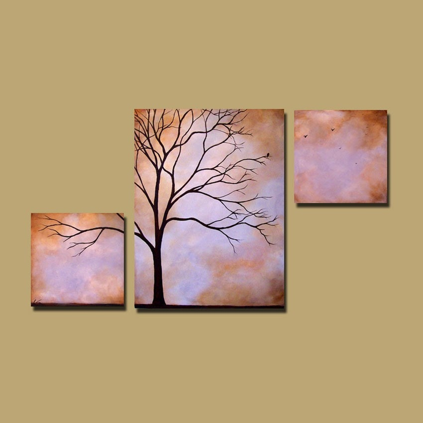 Abstract tree painting custom earthy wall art large tree art for Tree wall art