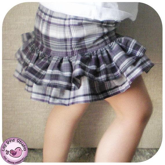 Ruffled skirt - 9 months to 8 years - PDF Instructions - easy sew, double layer ruffles skirt, elastic waist