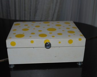 Vintage Yellow Polka Dot Jewelry Box - Here Comes the Sun