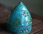 Sky Blue Green Raku Crackle Lidded Jar