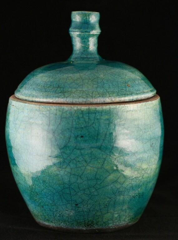 Turquoise Blue Green Raku Lidded Jar