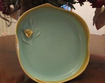 Vintage Bowl, Decorative Bowl, Art Pottery, Serving Pottery, Home Decor Pottery, Seafoam Green Bowl, 1960's Pottery, Caliente Vintage 60's,