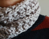 Cozy knitted wool neckwarmer, tube snood scarf in ivory cream