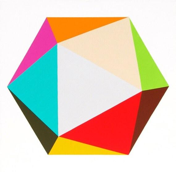 "Original painting - Icosahedron 30"" x 30"" geometric minimalist abstract"