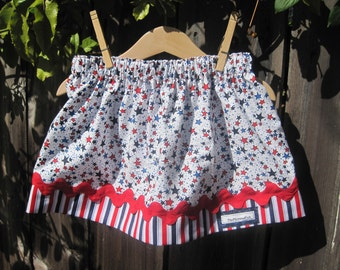 READY TO SHIP Size 3T - Girls Twirl Skirt - Stars and Stripes, 4th of July