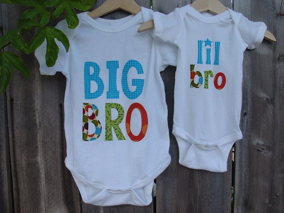 Big Brother Little Brother Matching Shirt and Onesie - White