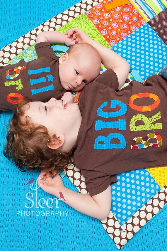 Big Brother Little Brother Matching Shirt and Onesie - Brown