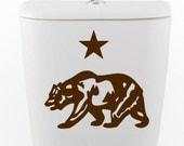 California flag bear and star DECAL- toilet Home Decor, Vinyl Wall Art, Shower, Bathroom, Interior Design