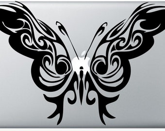 tribal Butterfly laptop DECAL- macbook computer- fairy whimsical vinyl sticker