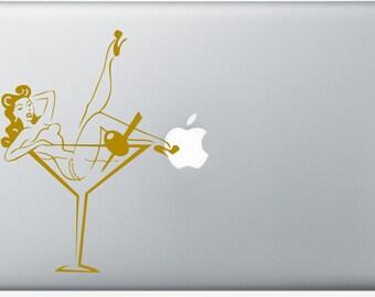 Classic pin up in martini glass DECAL- macbook PC computer- vinyl sticker - burlesque, rockabilly