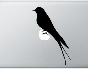 swallow laptop DECAL- macbook PC computer- bird animal - vinyl sticker