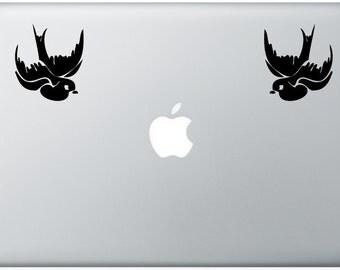 Two Swallows decal- sailor sea tattoo nautical- macbook iPad computer- vinyl sticker