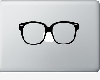 Hipster Glasses laptop DECAL- macbook iPad computer - nerd vinyl sticker
