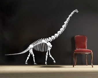 large Brachiosaurus Dinosaur vinyl Wall DECAL- museum interior design, sticker art, room, home and business decor