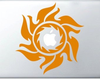Tribal Sun laptop DECAL- macbook iPad computer- radial