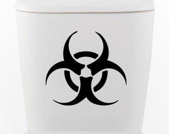 Biohazard toilet DECAL- Home Decor, Vinyl Wall Art, Shower, Bathroom, Interior Design