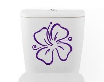 Flower toilet DECAL- Hawaii Home Decor, Vinyl Wall Art, Shower, Bathroom, Interior Design tropical island plumeria Hibiscus