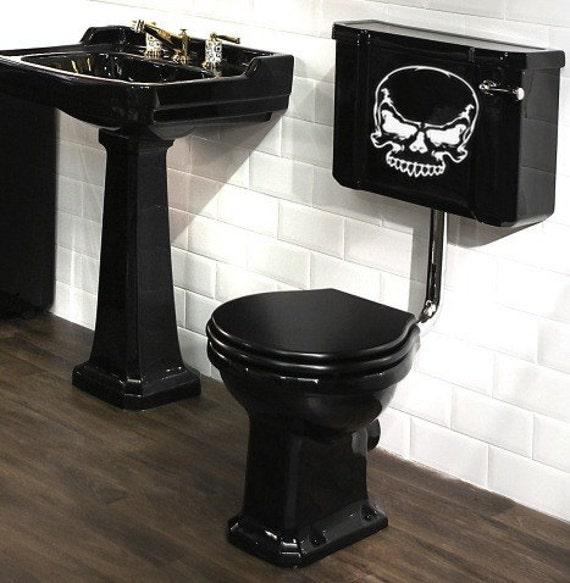 Skull toilet decal home decor vinyl wall art shower by for Skull home decor