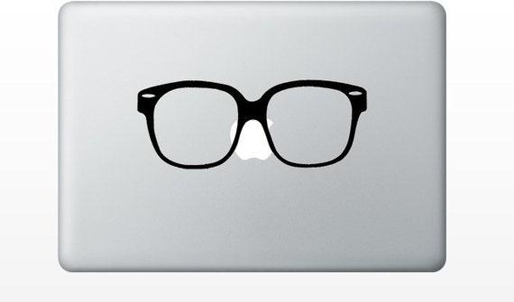 Hipster Glasses laptop DECAL- macbook iPad computer - nerd vinyl sticker