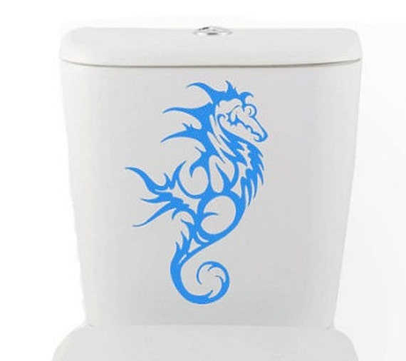 Tribal Seahorse DECAL- size good for toilet Home Decor, Vinyl Wall Art, Shower, Bathroom, Interior Design