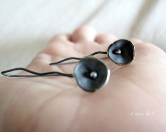 Contemporary Sterling Silver  Flower earrings Flower minimalist , Oxidized, black, Gift for her
