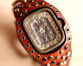 Vintage Retro Steampunk Handcraft Wrist Watch with Stud Leather Band /// Galactica - Perfect Gift for Birthday and Anniversary